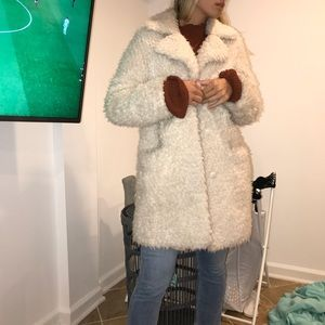 Topshop fussy off white coat